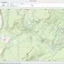Data from the TrailForks online mountain bike database for an area near Squamish overlaid on an ESRI topographic map.